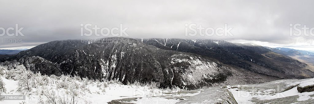 Panorama of Shrouded Franconia Range from Cannon Mtn stock photo