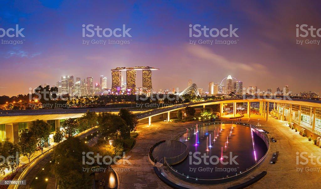 Panorama of Singapore skyline stock photo