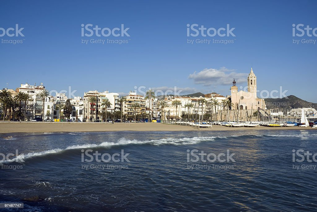 Panorama of Sitges stock photo