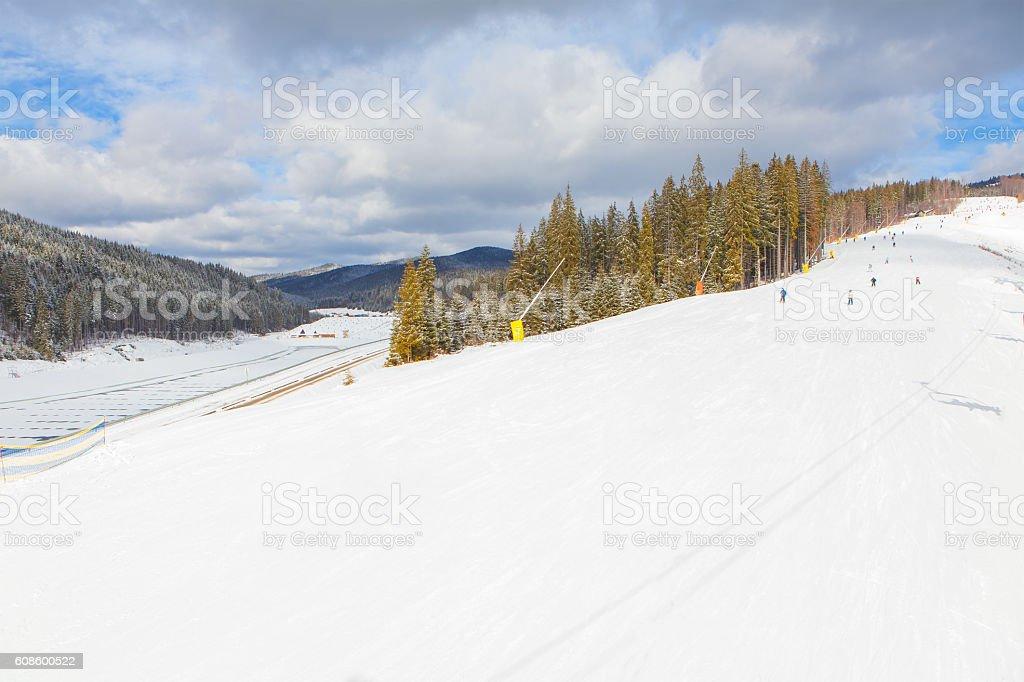 panorama of ski resort stock photo