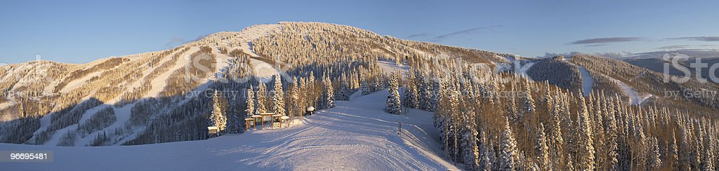 Panorama of ski slopes at winter, Steamboat resort, Colorado stock photo