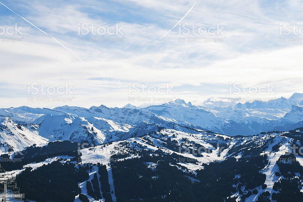 panorama of skiarea in Portes du Soleil region stock photo