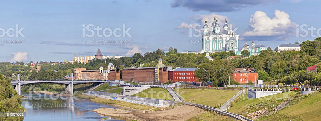 Panorama of Smolensk from Dnepr river stock photo