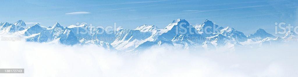Panorama of Snow Mountain Landscape Alps stock photo