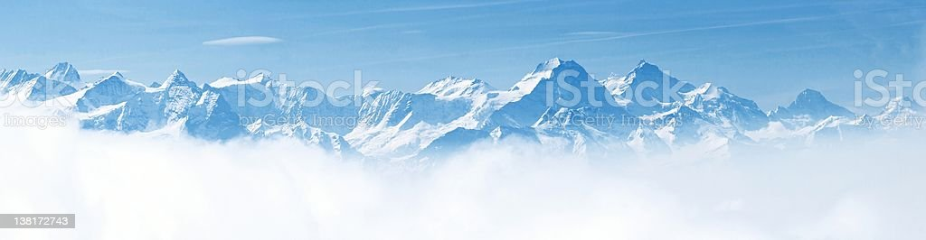 Panorama of Snow Mountain Landscape Alps stock photo