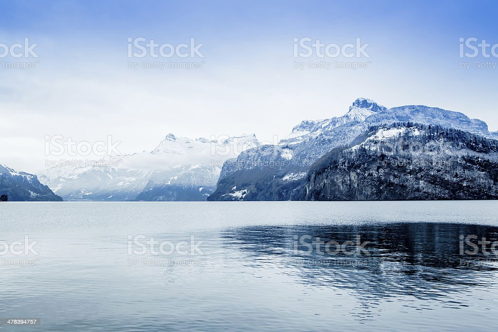 Panorama of Snow Mountain. Winter in the swiss alps. stock photo
