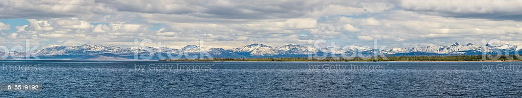 Panorama of snowcapped mountains in Yellowstone National Park stock photo