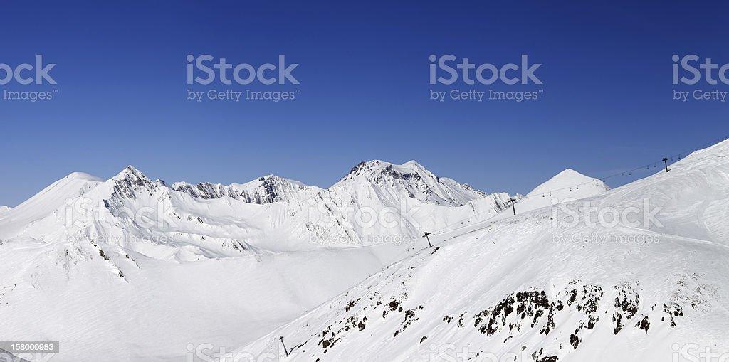 Panorama of snowy winter mountains. Caucasus Mountains, Georgia royalty-free stock photo