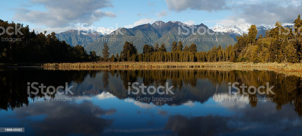 Panorama of Southern Alps, Mount Cook reflecting in Lake Matheson royalty-free stock photo