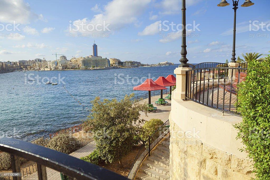 Panorama of St Julian, Malta stock photo