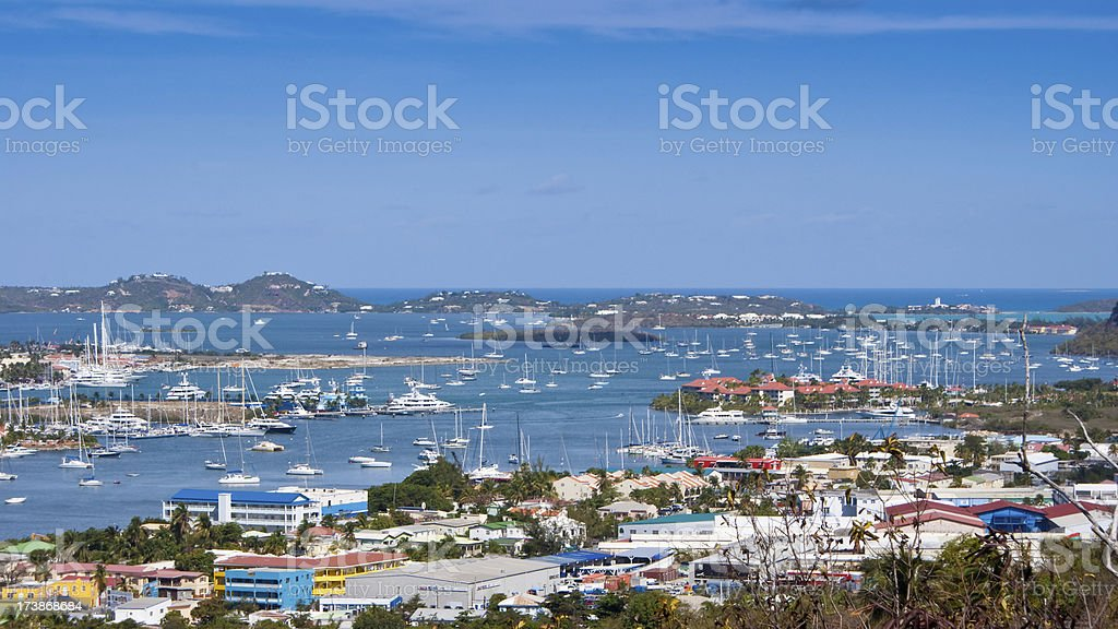 Panorama of St. Maarten with Simpson Bay royalty-free stock photo