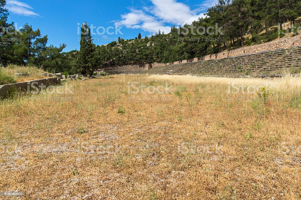Panorama of Stadium at Ancient Greek archaeological site of Delphi stock photo
