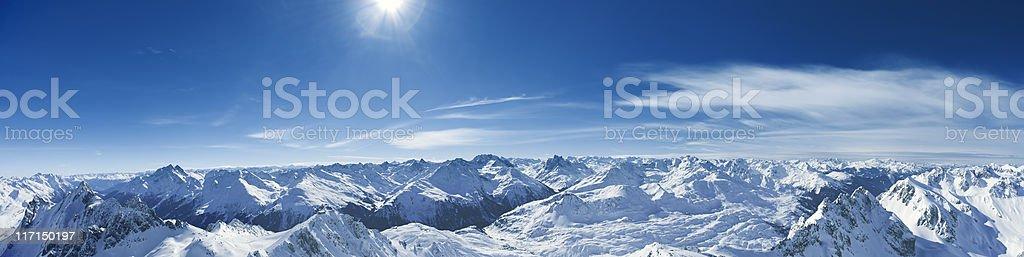 Panorama of St.Anton am Arlberg ski area from Valluga.XXXL royalty-free stock photo