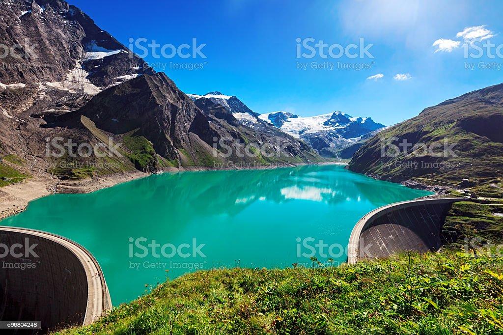 Panorama of Stausee Mooserboden Dam near Kaprun, Austria stock photo