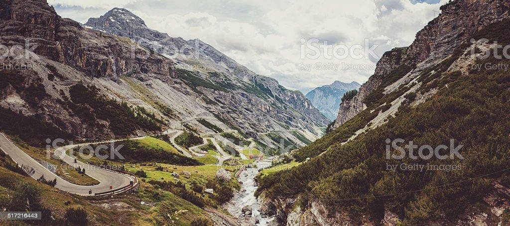 Panorama of Stelvio pass in Italy stock photo