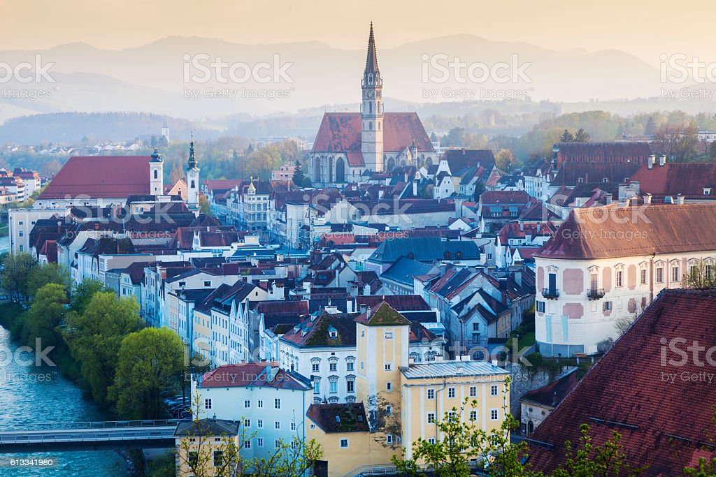 Panorama of Steyr in the morning stock photo