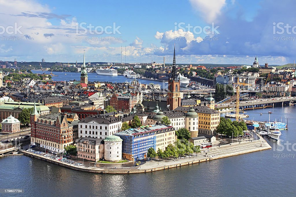 Panorama of Stockholm Old City, Sweden stock photo