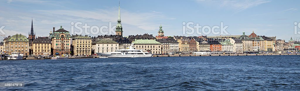 Panorama of Stockholm Old city with yacht. stock photo