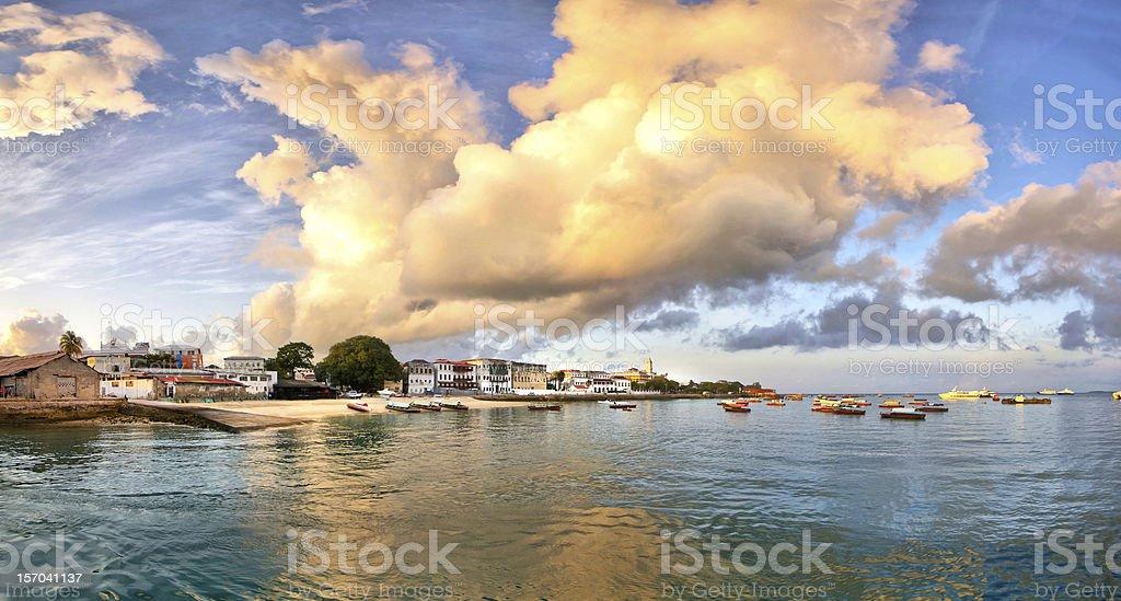 Panorama of Stone Town on Zanzibar island stock photo