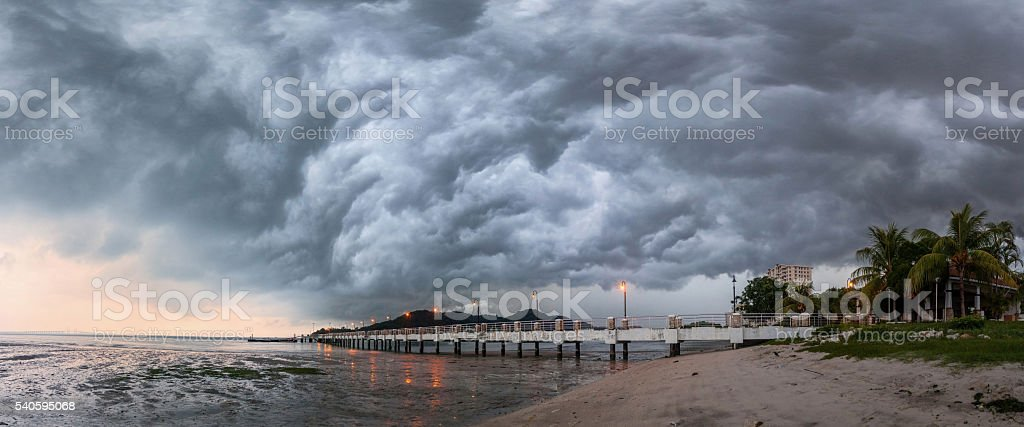 Panorama of storm view in George Town Penang, Malaysia stock photo
