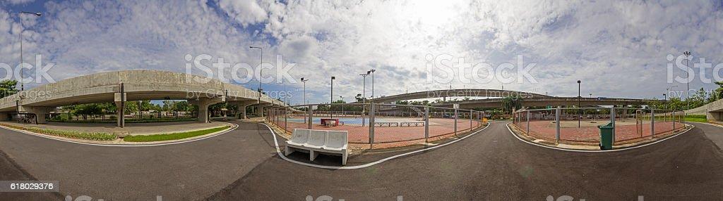 Panorama of street sport park stock photo