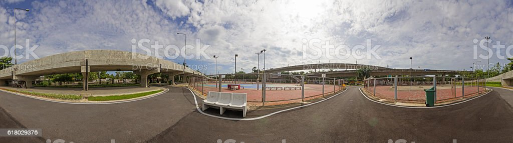 Panorama of street sport park stock photo