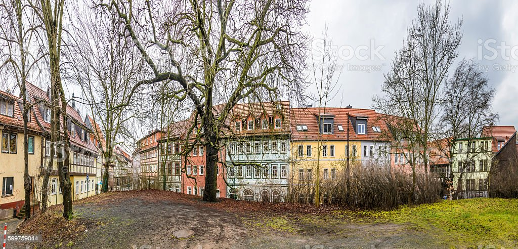 panorama of street with half timbered houses in Nordhausen stock photo