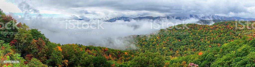 Panorama of stretch of Blue Ridge Parkway stock photo