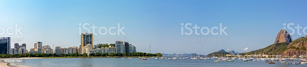 Panorama of Sugar Loaf and Botafogo cove stock photo