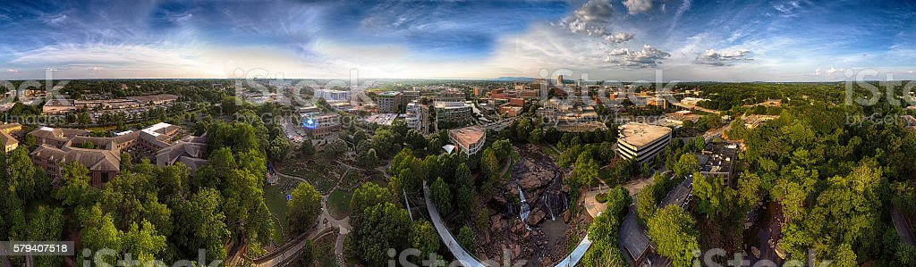 Panorama Of Summer In Greenville South Carolina stock photo