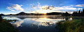 Panorama of Sunrise over Wilderness Lake