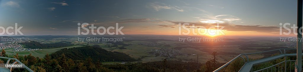 Panorama of sunset near Rottweil stock photo