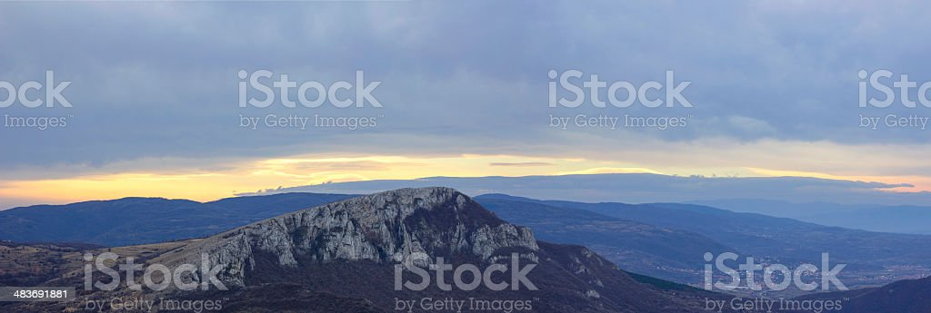 Panorama of sunset over hills royalty-free stock photo