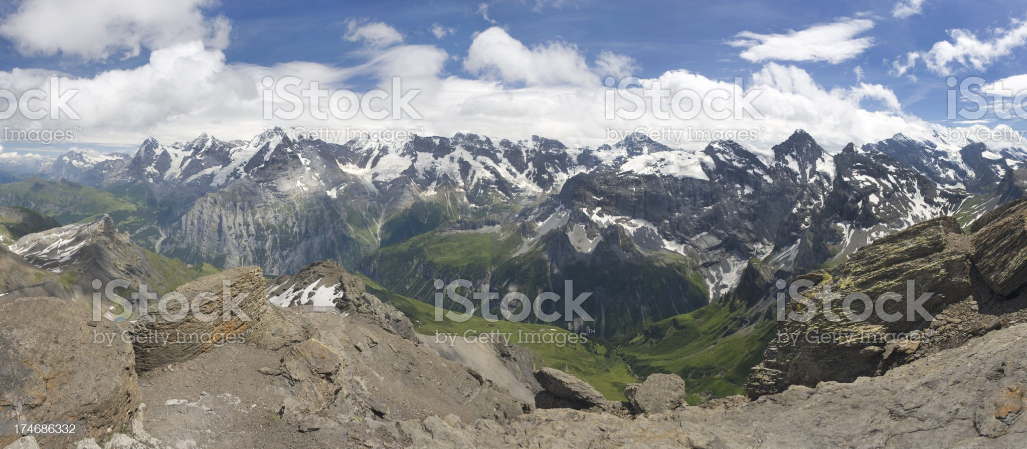 Panorama of Swiss Alps royalty-free stock photo