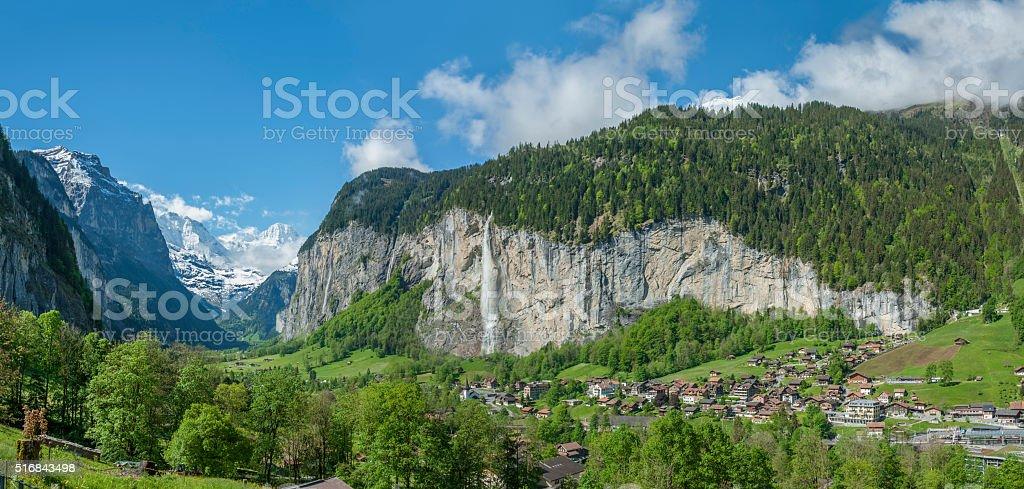 Panorama of Switzerland landscape stock photo