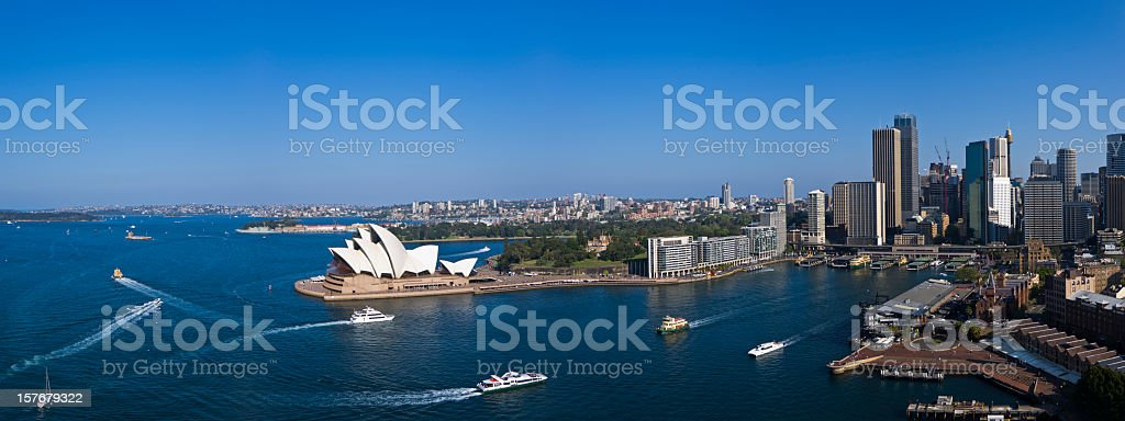 Panorama of Sydney Harbour in the afternoon sun XXXL royalty-free stock photo