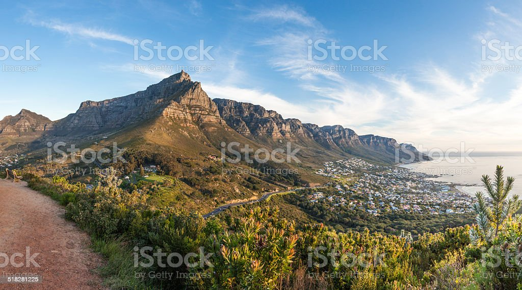 Panorama of Table Mountain from Lion's Head stock photo