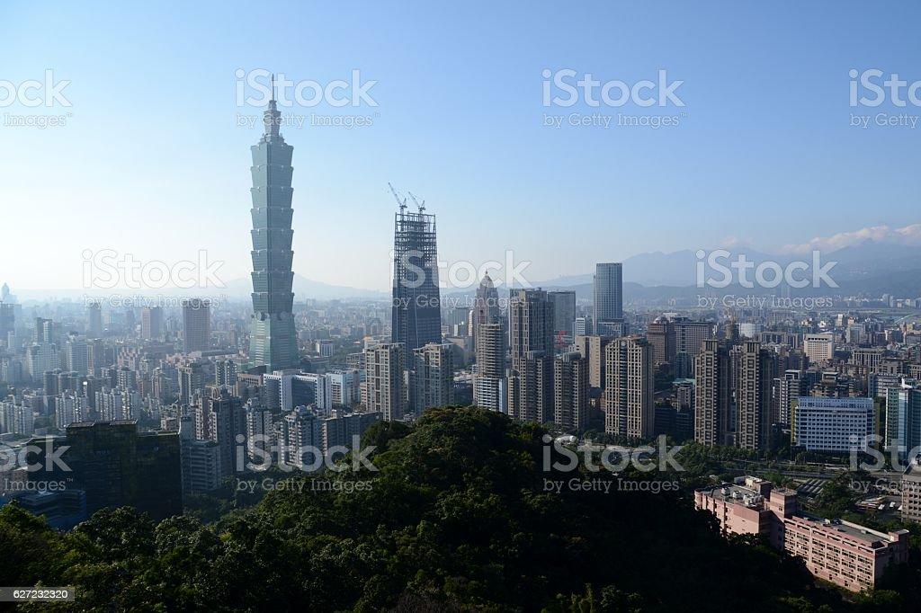 Panorama of Taipei from Elephant mountain, Taiwan stock photo
