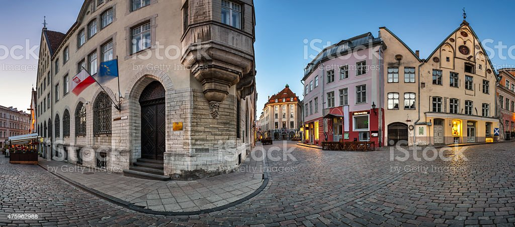 Panorama of Tallinn Old Town in the Morning, Tallinn, Estonia stock photo