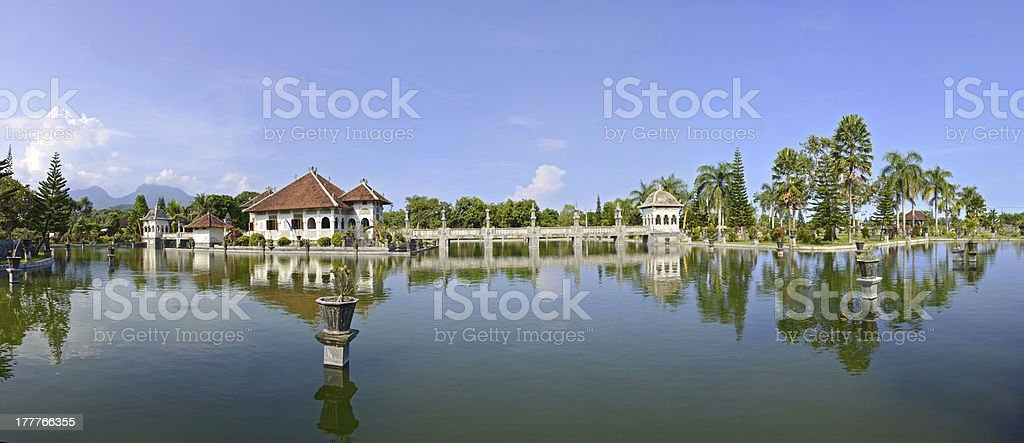 Panorama of Taman Ujung water palace on Bali stock photo