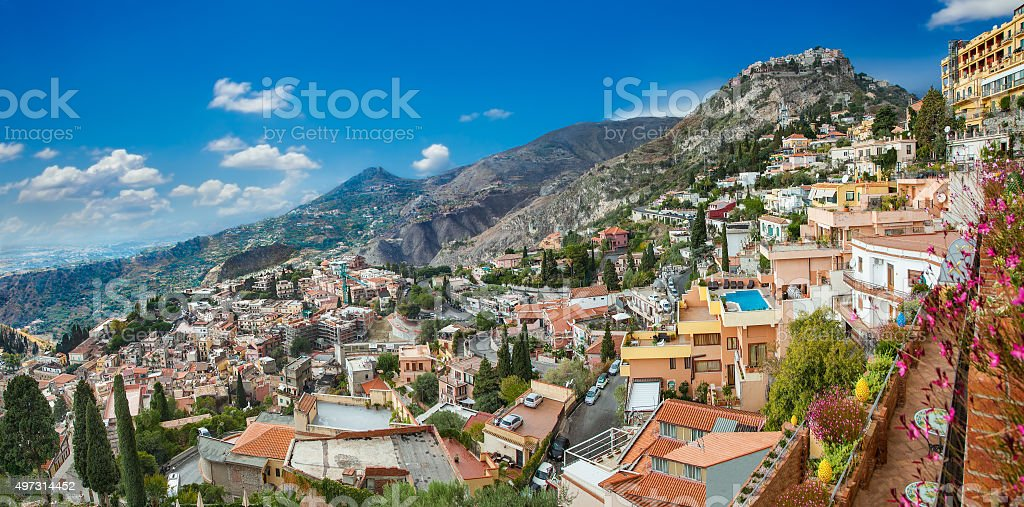Panorama of Taormina, Sicily stock photo