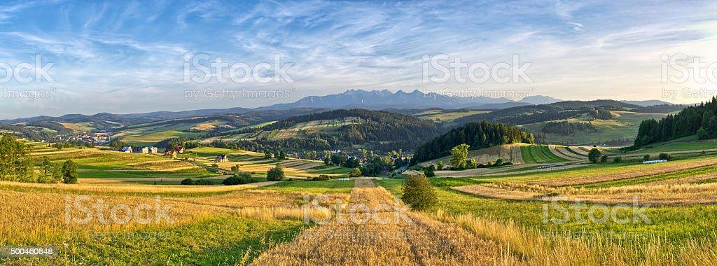 Panorama of Tatra mountains, Poland stock photo