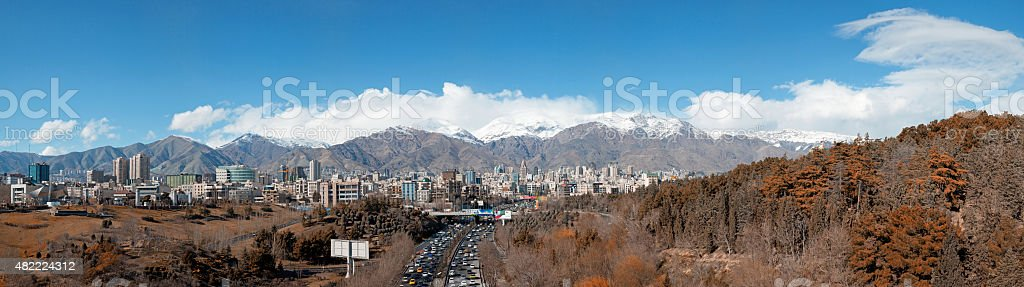 Panorama of Tehran Skyline with Alborz Mountains and Forest stock photo
