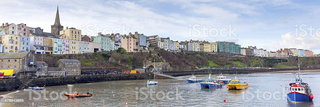 Panorama of Tenby Pembrokeshire Wales UK medieval walled fishing town stock photo