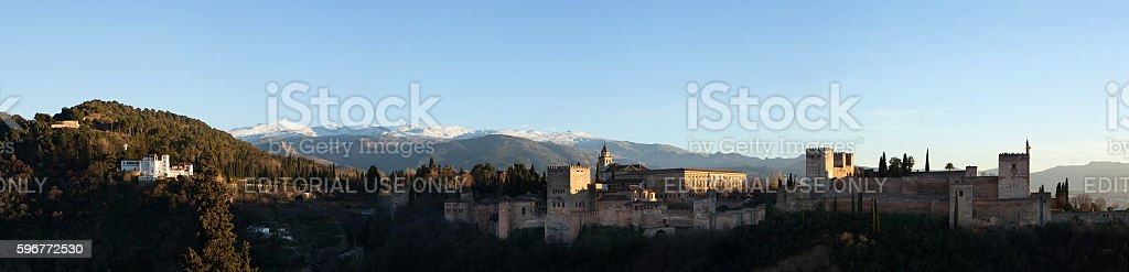 Panorama of the Alhambra Palace in Granada, Andalusia, Spain stock photo