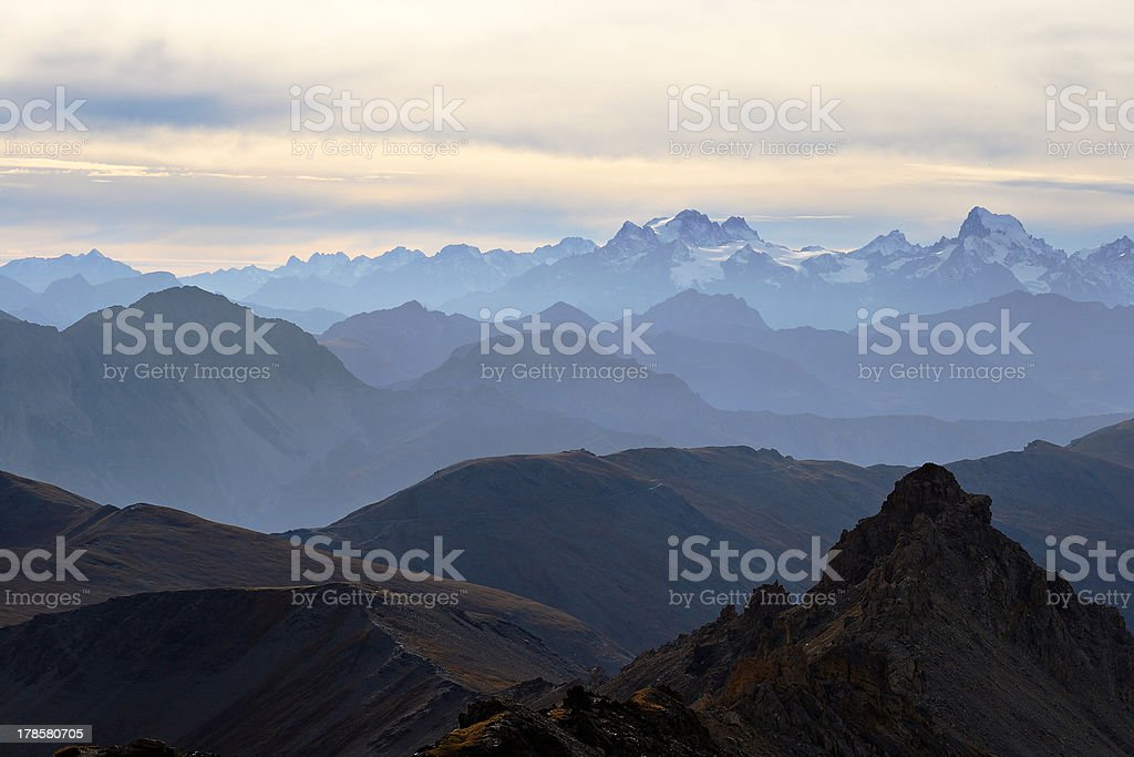 Panorama of the Alps at sunset stock photo