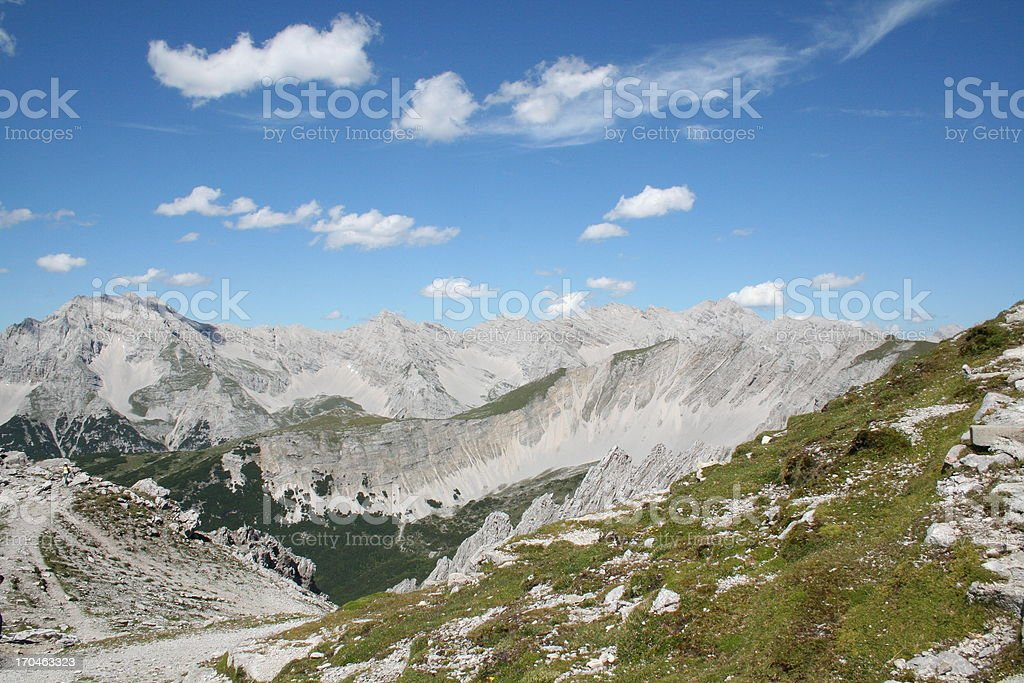 Panorama of the Alps, Nordkette close to Innsbruck, Tyrol, Austria royalty-free stock photo
