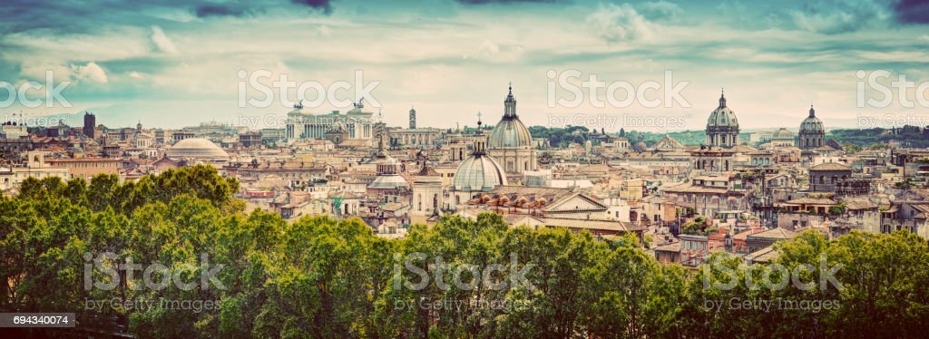 Panorama of the ancient city of Rome, Italy. Vintage stock photo