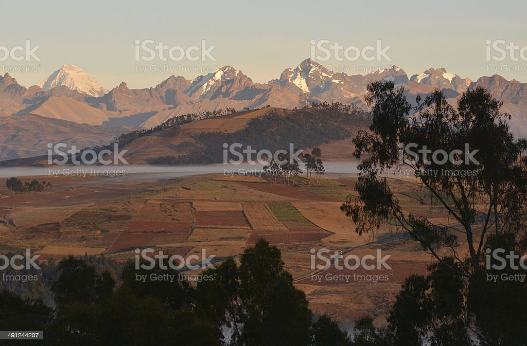 Panorama of the Andes, Peru stock photo