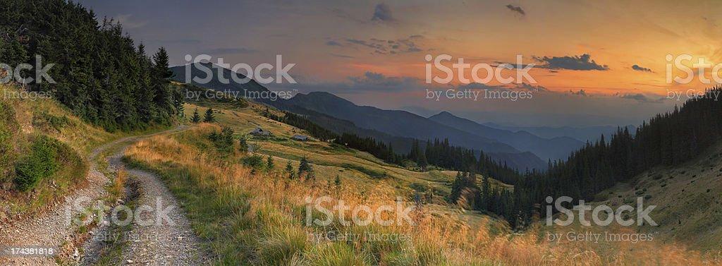 Panorama of the autumn mountains royalty-free stock photo